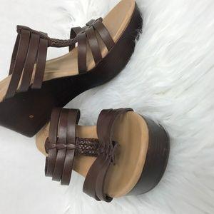Ugg Brown Mattie Open Toe Wedge Sandals